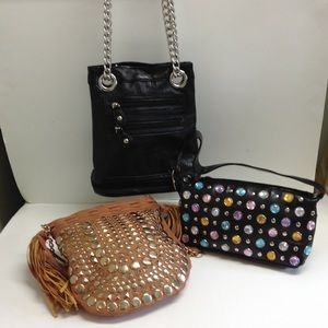 Handbags - Lot of 3 small fashion purses handbags studs stone